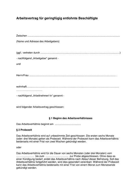 Kostenlose Vorlage Arbeitsvertrag Minijob Kostenlose Vorlagen F 252 R Alle Arten Arbeitsvertr 228 Ge