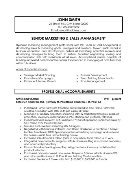 marketing resume sles senior marketing and sales manager resume template