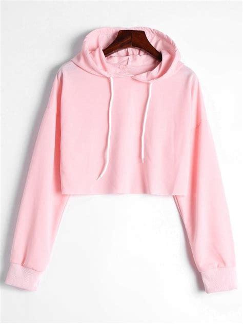 Drawstring Hoodie Pink drop shoulder drawstring crop hoodie light pink