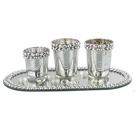 Glass Candle Tray Silver And Diamante Glass Candle Holder Jars On Mirrored