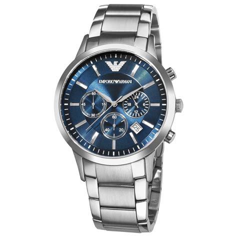 emporio armani ar 2448 blue chronograph wrist