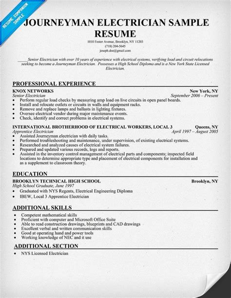 Resume For Electrician by Journeyman Electrician Resume Sle Resumecompanion