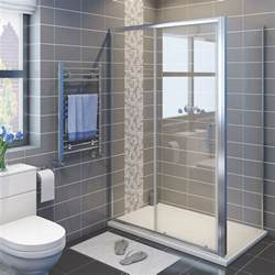 quality sliding door shower enclosure and tray waste side