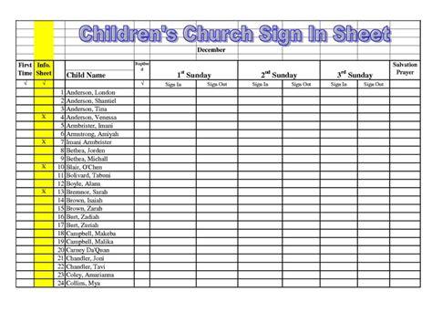 Children S Church Sign In Sheet Template Children S Church Sign In Sheet Template Google Search Childrens Church Pinterest