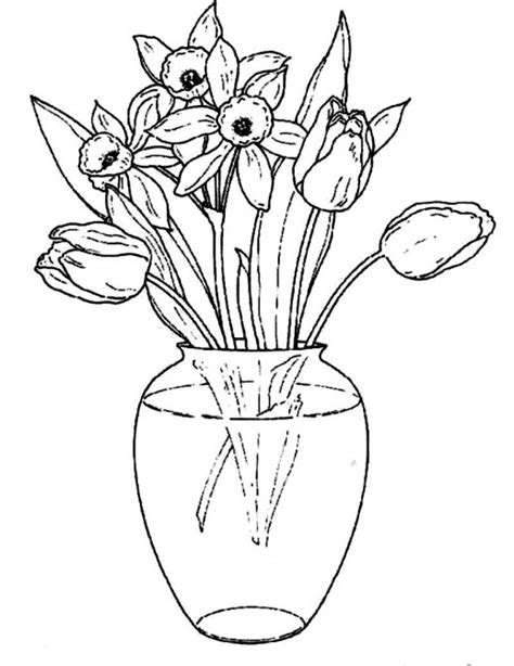 Drawing Flowers In A Vase by Flowers In A Clear Glass Vase Coloring Pages Flowers