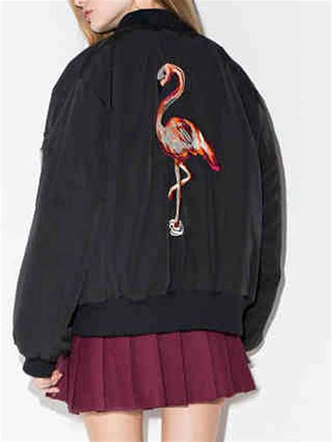 Flaminggo Bomber White Gr092211 black flamingo embroidery bomber jacket