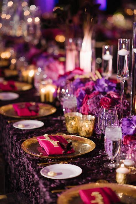 Reception Décor Photos   Purple & Fuchsia Tablescape