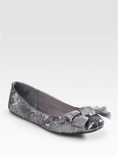 silver sequin flat shoes kate spade sequin bow front ballet flats in silver pewter