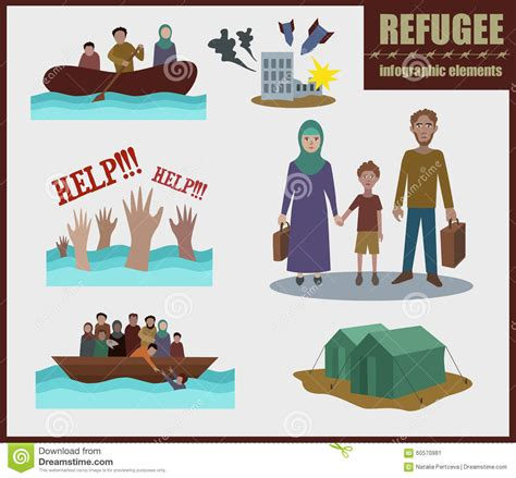 refugee boat clipart refugee vector infographic elements stock vector