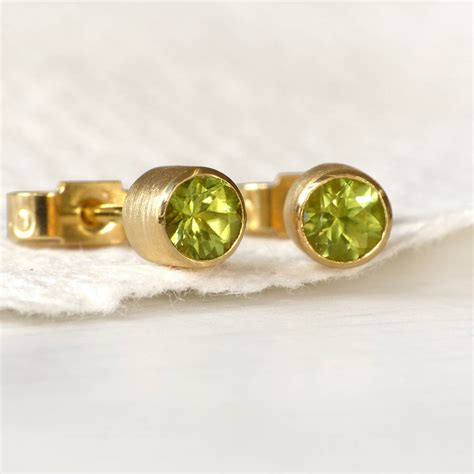 Handmade Studs - handmade peridot 18ct gold stud earrings by lilia nash
