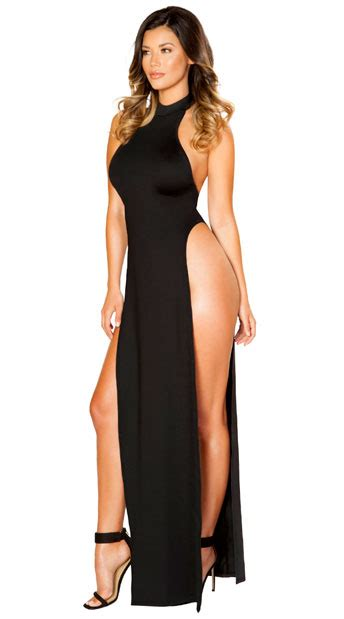 Stunning Black Maxi Dress, high cut maxi dress   Yandy.com