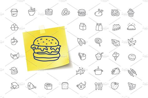 doodle food icons 28 food icons design trends premium psd vector downloads