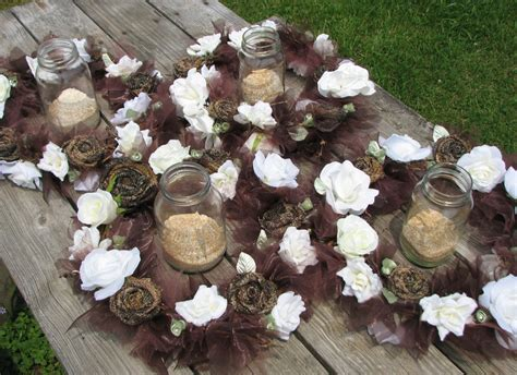 camo wedding lighted centerpiece set of 4 rustic by thevinedesigns