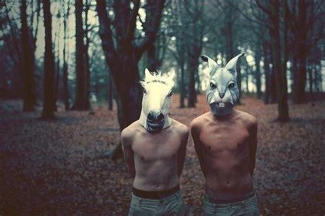 girl wearing horse head mask boy boys bunny horse mask image 449517 on favim com