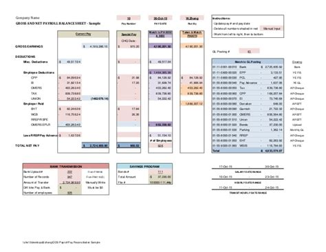 Payroll Reconciliation Report Template Payroll Reconciliation Sle