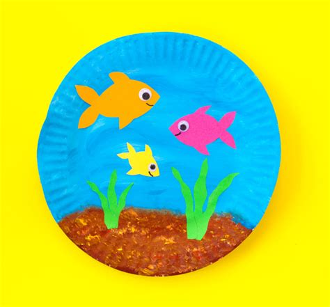 Paper Craft Fish - paper plate fish bowl doodle and stitch