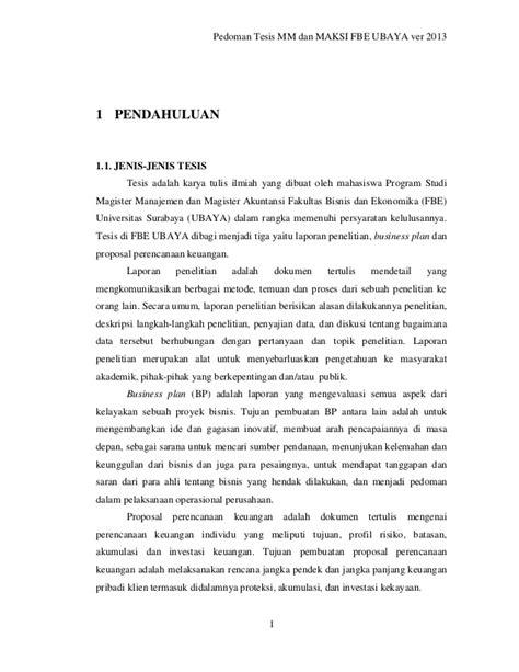 pernyataan tesis adalah pedoman penulisan tesis pascasarjana fbe ubaya