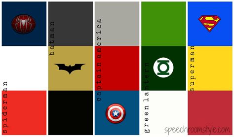 color shemes get into the superhero theme speech room style