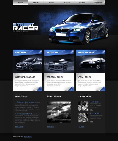 Car Racing Website Template Web Design Templates Website Templates Download Car Racing Car Website Design Templates