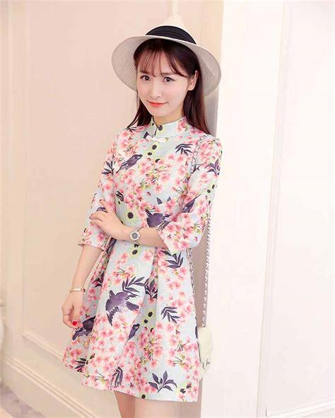 Vintage Babydoll Dress Mini Wanita Minidress Korea Bunga Tassel Tasel dress vintage motif bunga 2017 myrosefashion