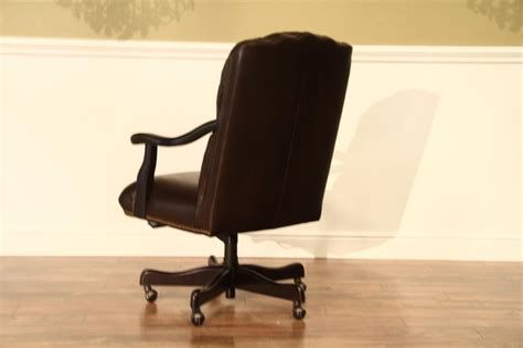 brown leather tufted office chair brown leather tufted camel back executive chair with brass