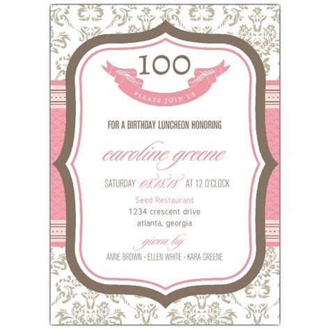 French Boutique 100th Birthday Invitations Paperstyle 100th Birthday Invitation Templates Free