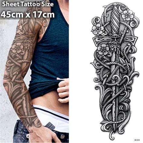 henna tattoo 3d sword arm temporary sleeve stickers