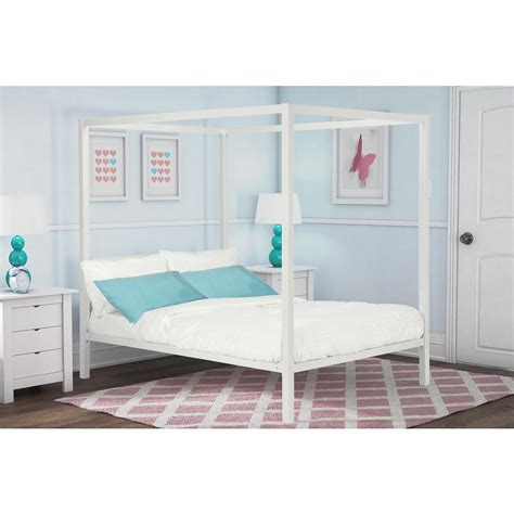 full size metal bed dhp modern metal canopy full size bed frame in white 4073139 the home depot