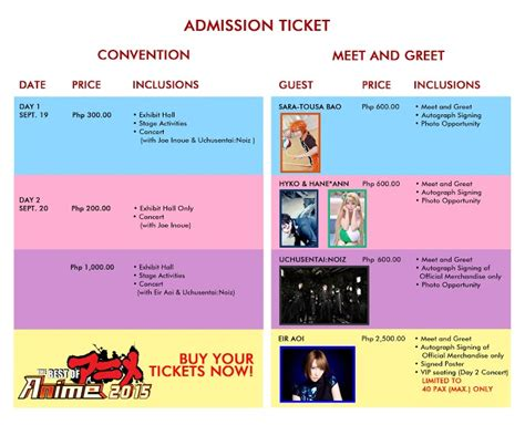 best ticket prices ticket prices for the best of anime 2015 event announced