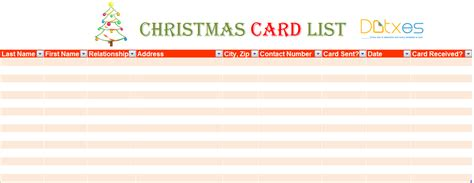 Top 5 Free Christmas Card List Templates Word Templates Excel Templates Card Mailing List Template
