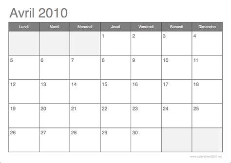 Calendrier Avril 2010 Calendrier 2010 192 Imprimer Par Mois