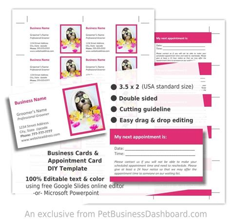 ad 35585 business card template diy grooming business cards template pet business