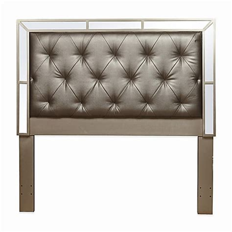 mirrored tufted headboard buy pulaski ansley mirrored upholstered queen headboard