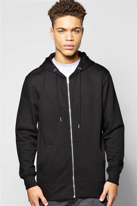 boohoo mens basic zip through hoodie