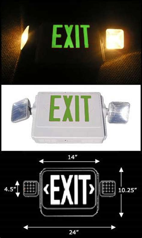 exit sign light combo mark exit doors with emergency exit sign lighted green