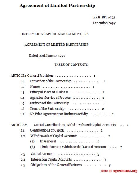 silent partner contract template limited partnership agreement sle free printable