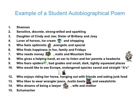 self biography definition exle of a student autobiographical poem with rules