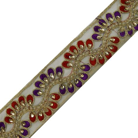 Beaded Upholstery Trim by Beaded Net Fabric Trim Floral Embroidered Lace Sewing Bridal Sari Border 1 Yd Ebay