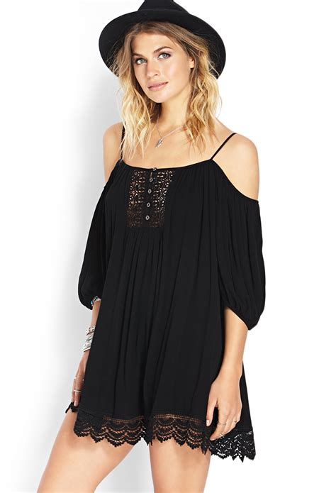 Black Shoulder Dress forever 21 cold shoulder peasant dress in black lyst