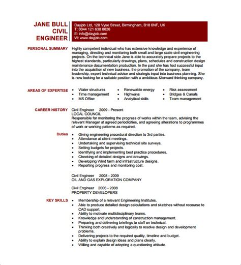 Project Quality Engineer Resume by 13 Civil Engineer Resume Templates Pdf Doc Free