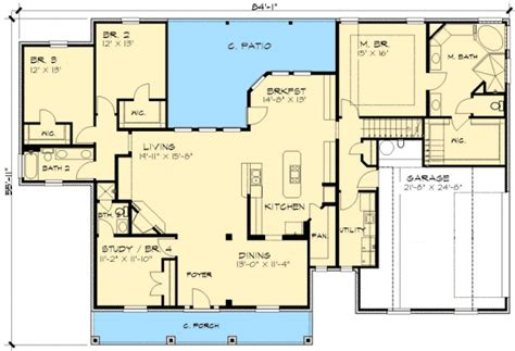 ranch floor plans with bonus room rambling ranch home plan 36866jg 1st floor master