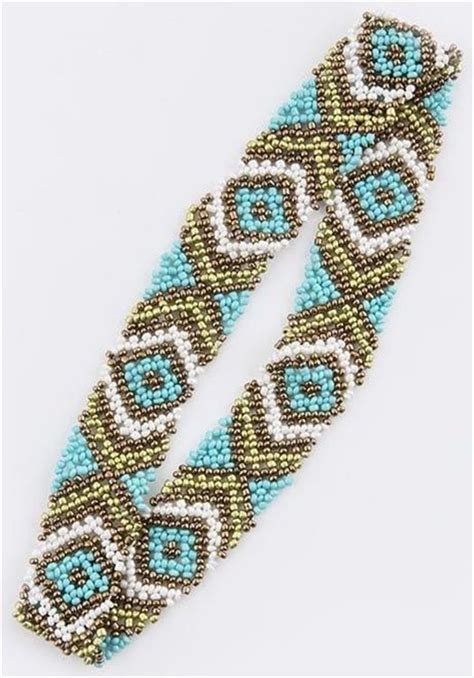 beaded headband patterns aztec beaded headband nook boutique