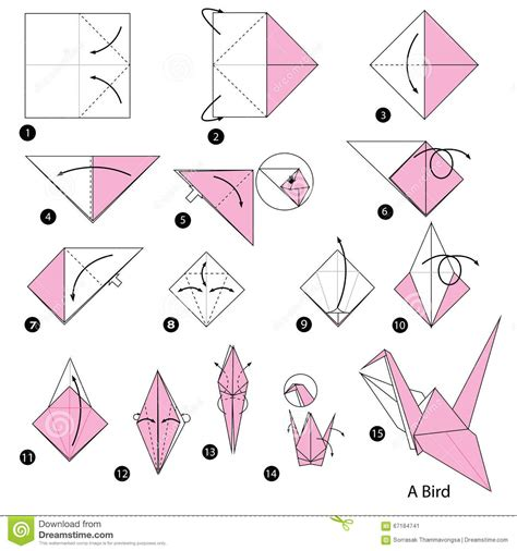 How To Make A Paper Parrot - step by step how to make origami a bird