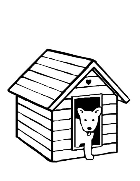 dog house outline dog kennel clipart black and white clipartsgram com