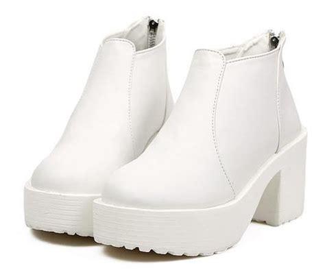 korean stylish toe chunky heel platform ankle boots