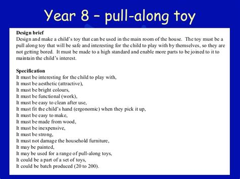 design brief year 8 year 8 pull along toy