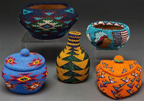 american indian baskets five paiute twined and beaded
