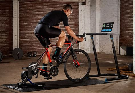 desk for indoor cycling kickr smart trainer floormat and desk package wahoo