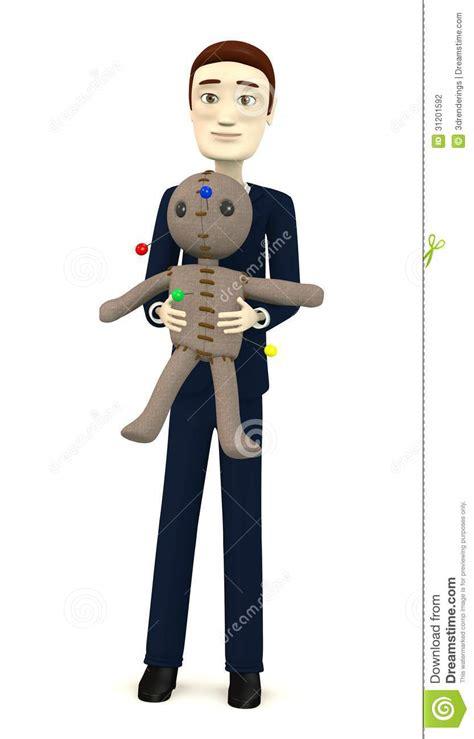design doll error cartoon businessman with voodoo doll stock photography