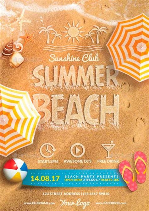 template flyer beach best summer flyer templates no 4 download psd flyer